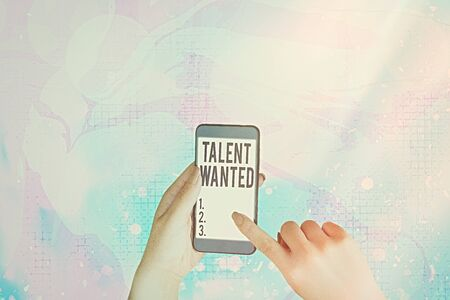 Text sign showing Talent Wanted. Business photo showcasing method of identifying and extracting relevant gifted Banco de Imagens