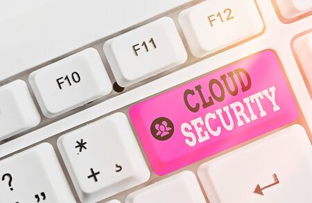 Text sign showing Cloud Security. Business photo text Imposing a secured system of existing data in the Internet