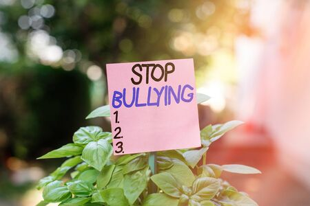 Text sign showing Stop Bullying. Business photo showcasing voicing out their campaign against violence towards victims Plain empty paper attached to a stick and placed in the green leafy plants