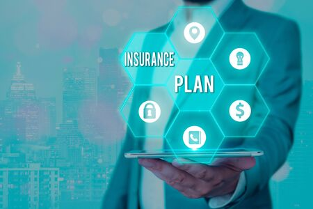 Handwriting text Insurance Plan. Conceptual photo includes the risk management that a worker is covered Banque d'images