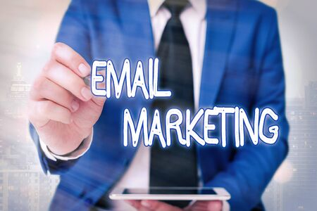 Word writing text Email Marketing. Business photo showcasing attracting potential buyer by communicating through the message