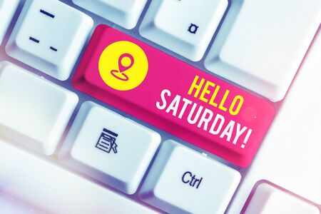 Writing note showing Hello Saturday. Business concept for a positive message expressed during the start of the weekend