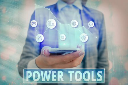 Text sign showing Power Tools. Business photo showcasing tools powered by an electric motor mostly used for manual labor 스톡 콘텐츠
