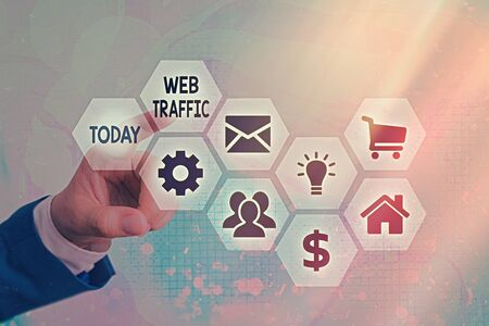Conceptual hand writing showing Web Traffic. Concept meaning amount of web users and attempted visit measured of a website Banque d'images