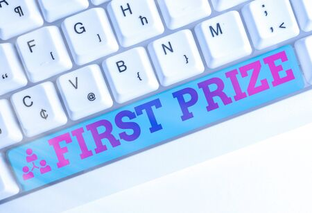 Text sign showing First Prize. Business photo showcasing most coveted prize that is only offered to the overall winner