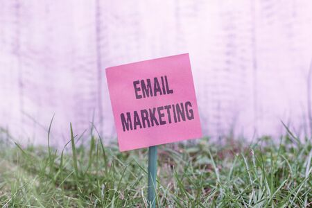 Writing note showing Email Marketing. Business concept for attracting potential buyer by communicating through the message Plain paper attached to stick and placed in the grassy land Stock Photo