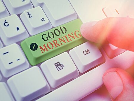 Handwriting text writing Good Morning. Conceptual photo happy day message and inspirational with a smile and love