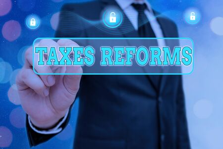 Handwriting text Taxes Reforms. Conceptual photo managing collected taxes in a more efficient process