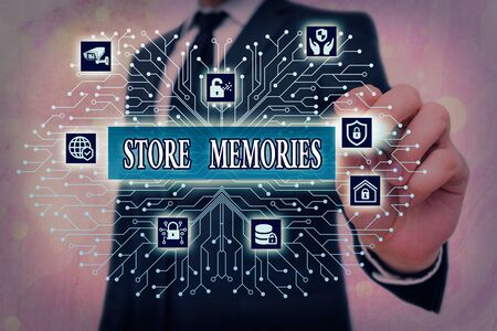 Word writing text Store Memories. Business photo showcasing a process of inputting and storing data previously acquired