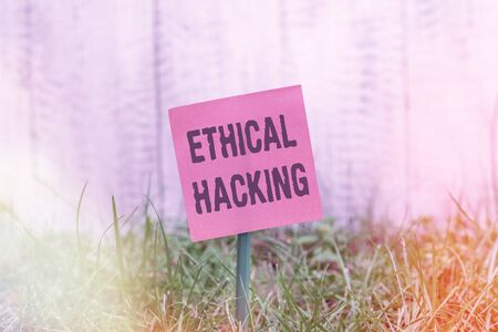 Writing note showing Ethical Hacking. Business concept for a legal attempt of cracking a network for penetration testing Plain paper attached to stick and placed in the grassy land Stockfoto
