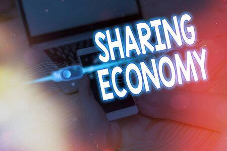 Text sign showing Sharing Economy. Business photo showcasing a system where assets are shared privately between individuals