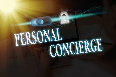 Writing note showing Personal Concierge. Business concept for someone who will make arrangements or run errands