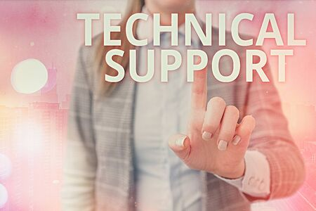Handwriting text writing Technical Support. Conceptual photo a service provided by a hardware or software company Фото со стока