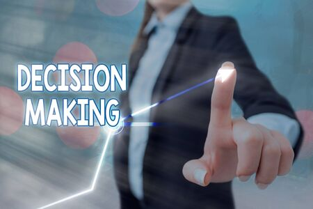 Text sign showing Decision Making. Business photo text to choose the best option to par with the current situation