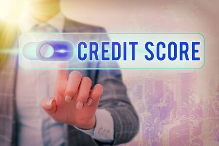 Word writing text Credit Score. Business photo showcasing numerical expression that indicates an individual s is creditworthiness