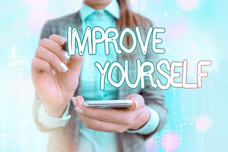 Text sign showing Improve Yourself. Business photo text to make your skills looks becoming a better an individual