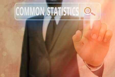 Writing note showing Common Statistics. Business concept for deals with collection analysis etc of numerical data