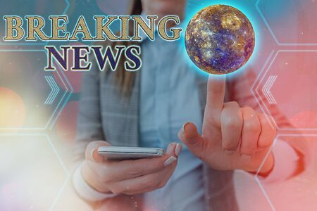 Handwriting text Breaking News. Conceptual photo newly received current information about an occurred event Stock Photo