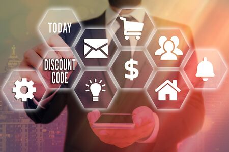 Word writing text Discount Code. Business photo showcasing to reduce the price of a product with an individualalized voucher