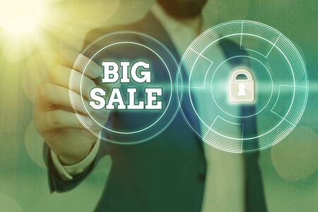 Word writing text Big Sale. Business photo showcasing massive commercial event where merchandise is sold at a reduced price