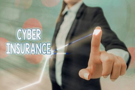 Text sign showing Cyber Insurance. Business photo text exclusive plan to protect the company from Internetbased risk 스톡 콘텐츠