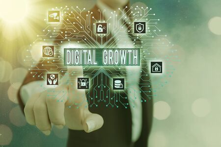 Writing note showing Digital Growth. Business concept for early stages of business progress developing a shared vision