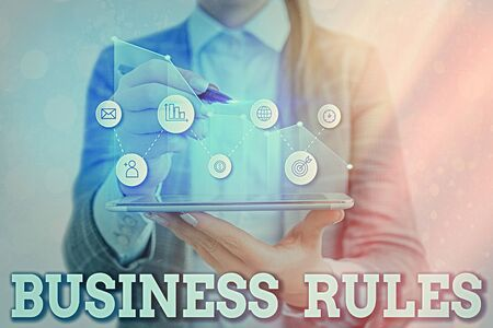 Writing note showing Business Rules. Business concept for the principles which determine the corporation s is activities