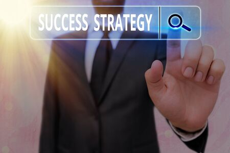Writing note showing Success Strategy. Business concept for provides guidance the bosses needs to run the company