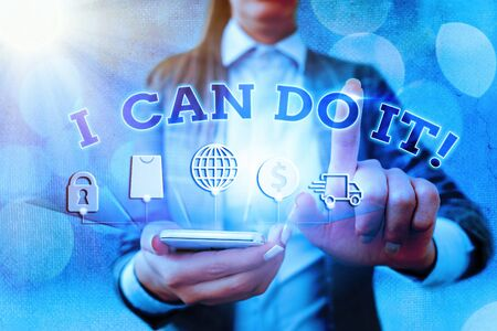 Word writing text I Can Do It. Business photo showcasing accomplish your work rather than complaining or giving up Stok Fotoğraf