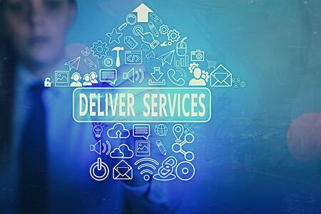 Writing note showing Deliver Services. Business concept for sending any kind of assistance or products to an area Stock fotó