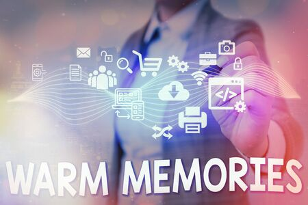 Writing note showing Warm Memories. Business concept for reminiscing the unforgettable collection of past events