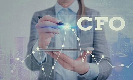 Conceptual hand writing showing Cfo. Concept meaning chief financial officer managing the financial actions of company