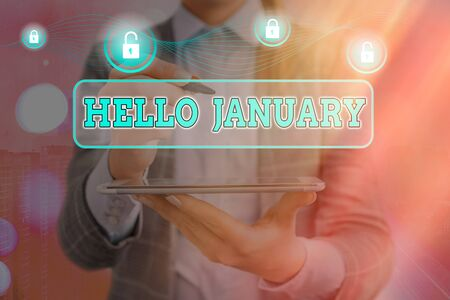 Word writing text Hello January. Business photo showcasing greeting used when welcoming the 1st month of the year