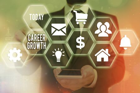 Word writing text Career Growth. Business photo showcasing Development Ambitions Attainment Motivation Progress in company Stock Photo