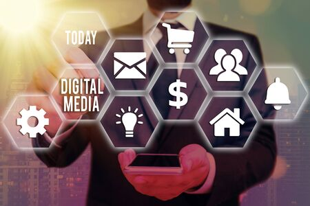 Word writing text Digital Media. Business photo showcasing Accessing any digitized content using etechnology system