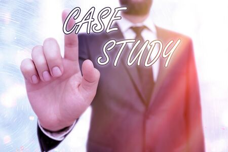 Writing note showing Case Study. Business concept for indepth examination method focusing on a single individual