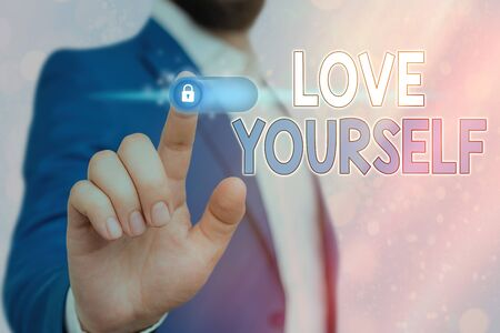 Handwriting text Love Yourself. Conceptual photo accepting the overall aspect of ourselves and have selfrespect Stock Photo