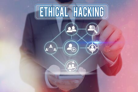 Word writing text Ethical Hacking. Business photo showcasing a legal attempt of cracking a network for penetration testing
