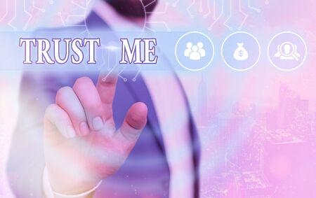 Conceptual hand writing showing Trust Me. Concept meaning Decides to build the relationship in someone safe and reliable Stock Photo