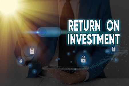 Text sign showing Return On Investment. Business photo text reviewing a financial report or investment risk analysis