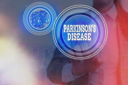 Text sign showing Parkinsons Disease. Business photo text chronic progressive neurological disease of later life 스톡 콘텐츠