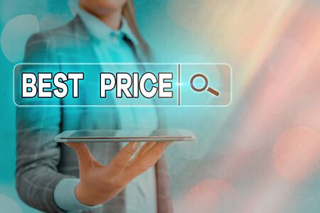 Text sign showing Best Price. Business photo text the most considerate cost of a product given to the customers 免版税图像