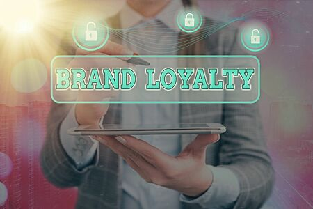 Word writing text Brand Loyalty. Business photo showcasing positive feelings to a brand and purchase the same product Stockfoto