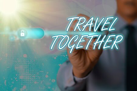Writing note showing Travel Together. Business concept for going to the vacation while being accompanied by others Stockfoto