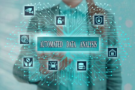 Handwriting text writing Automated Data Analysis. Conceptual photo Artificial intelligence and deep learning technology