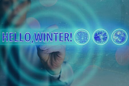 Word writing text Hello, Winter. Business photo showcasing greeting used when the cold season of the year passes by