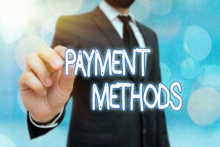 Word writing text Payment Methods. Business photo showcasing Several ways utilized to compensate a purchased service Banco de Imagens