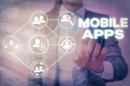 Word writing text Mobile Apps. Business photo showcasing a software application designed to run on handheld devices