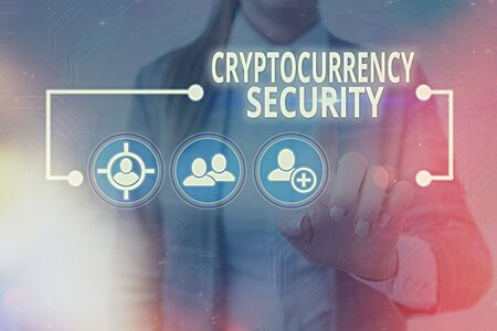 Text sign showing Cryptocurrency Security. Business photo showcasing prevent unauthorized digital money transactions