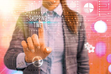 Text sign showing Shopping Time. Business photo text the session allowed for buying item while visiting a different store